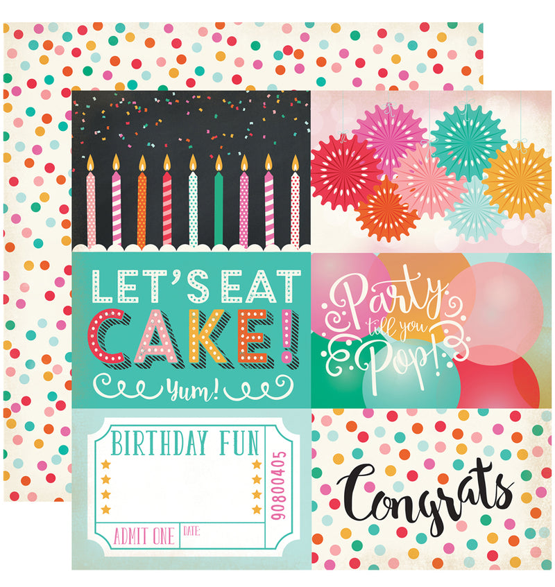 "Echo Park Party Time Collection Kit, 4"" x 6"" Journaling Cards Cardstock Paper 12"" x 12"""