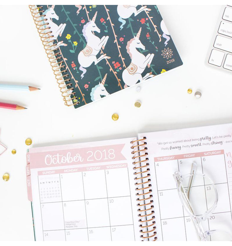 Bloom's Unicorn 2019 Soft Cover Daily Planner Monthly View Pages