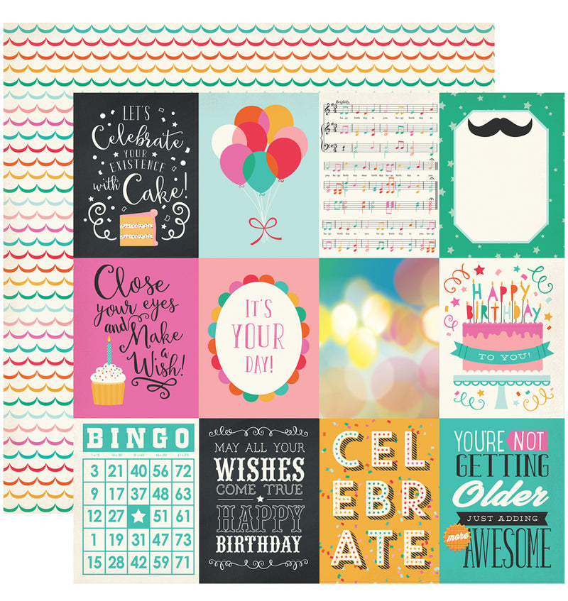 "Echo Park Party Time Collection Kit, 3"" x 4"" Journaling Cards Cardstock Paper 12"" x 12"""