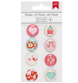 Valentine Mini Flair Adhesive Buttons 8pcs