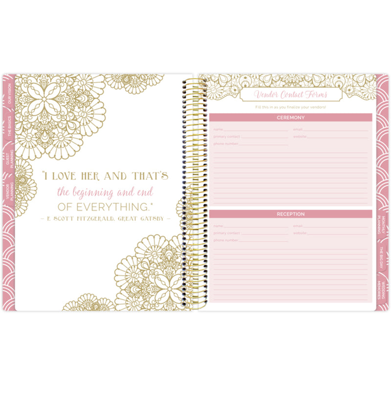 Bloom Gold Scallops Hardcover Wedding Planner Undated Wedding Vendor Contact Form Page