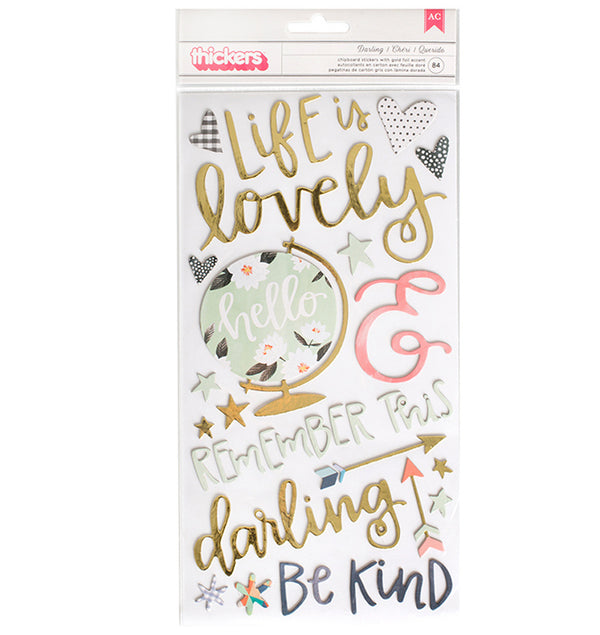 American Crafts Darling Hazelwood Chipboard Thickers Front