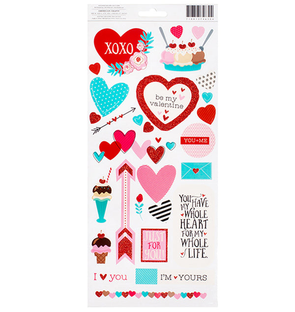 American Crafts Valentine Accent & Phrases Stickers Back