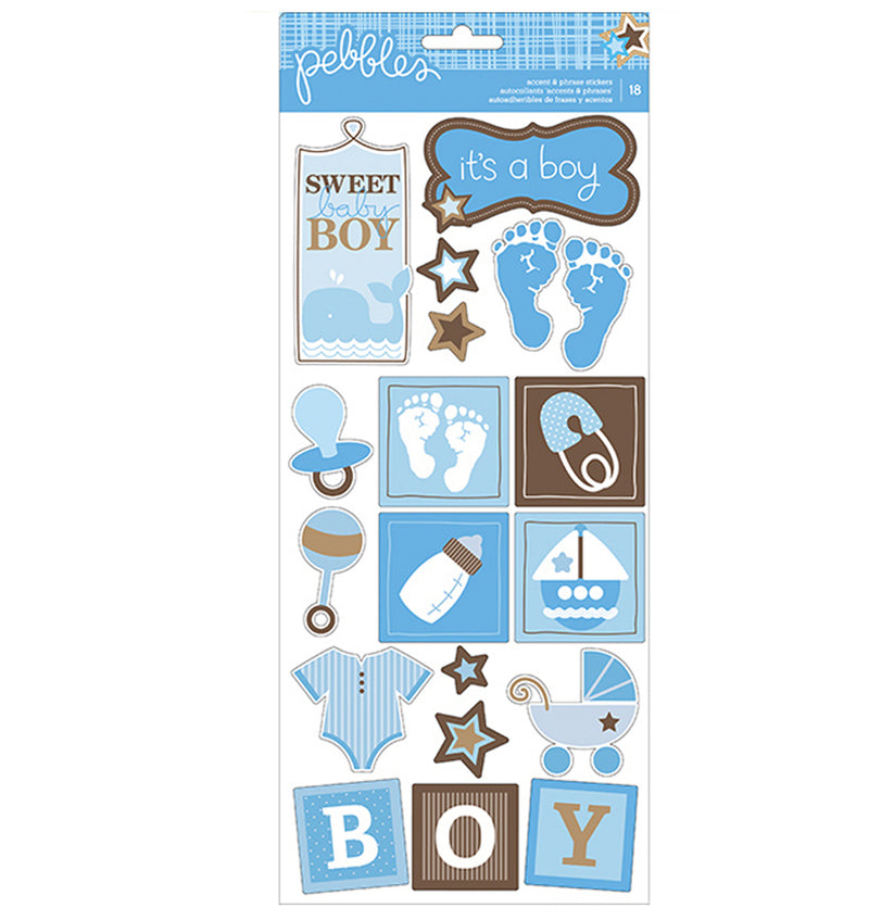 Sweet Baby Boy Accent & Phrase Stickers