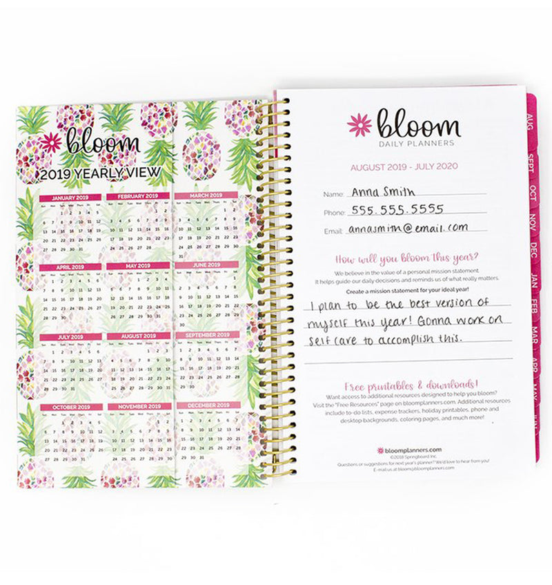 Be Sweet Pineapple 2019-2020 Bloom Soft Cover Daily Planner Cover Pages