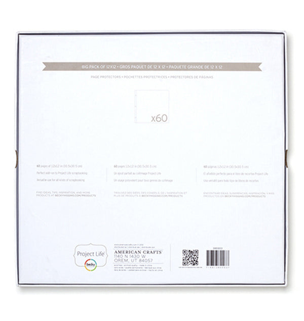 Project Life Big Pack 12 x 12 Page Protector (60pcs) Back