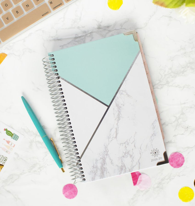 Blocking Marble Mint 2019-2020 Bloom Hard Cover Daily Planner Cover