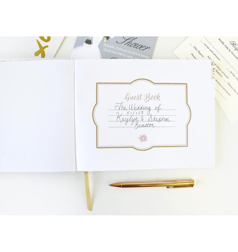 Bloom's Classic Gold Foil Hardcover Guest Book Front Page with Wordings