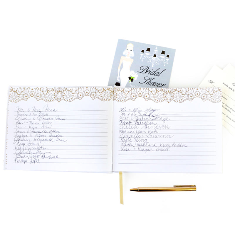 Bloom's Classic Gold Foil Hardcover Guest Book with Wordings