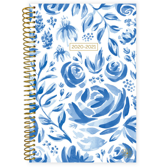 Blue & White Floral 2020-2021 Soft Cover Daily Planner