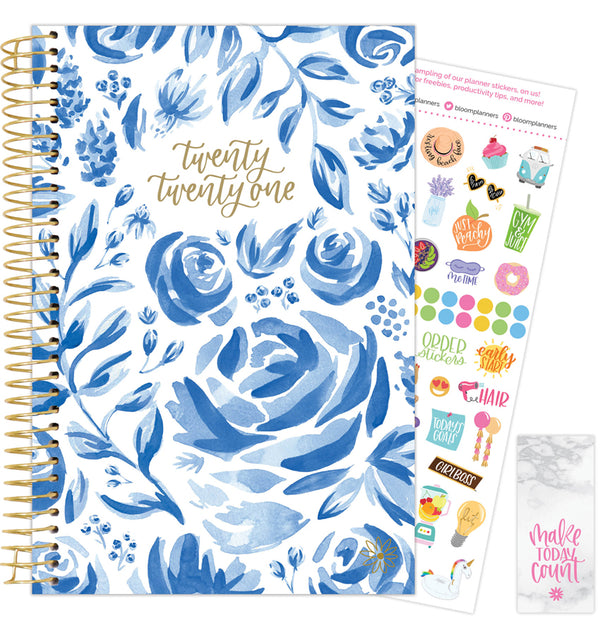 Blue & White Floral 2021 Soft Cover Daily Planner