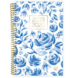 Blue & White Floral 2019-2020 Bloom Soft Cover Daily Planner