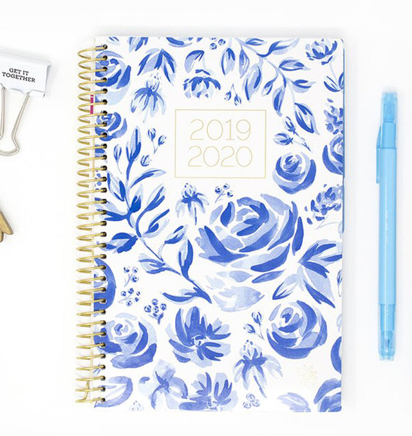 Blue & White Floral 2019-2020 Bloom Soft Cover Daily Planner Cover