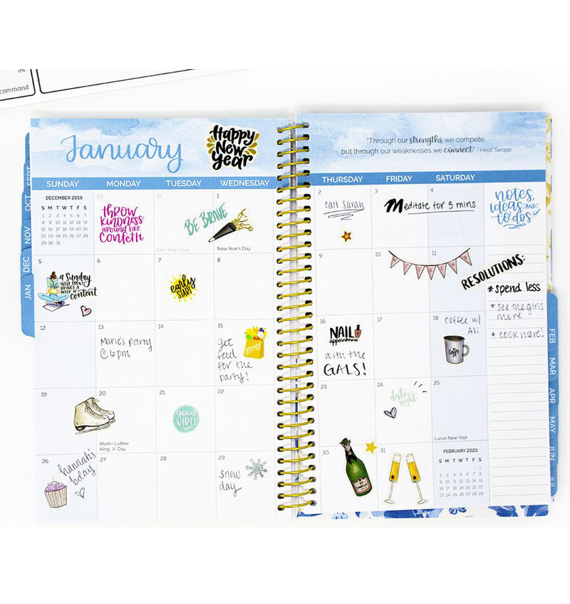 Blue & White Floral 2019-2020 Bloom Soft Cover Daily Planner Monthly View