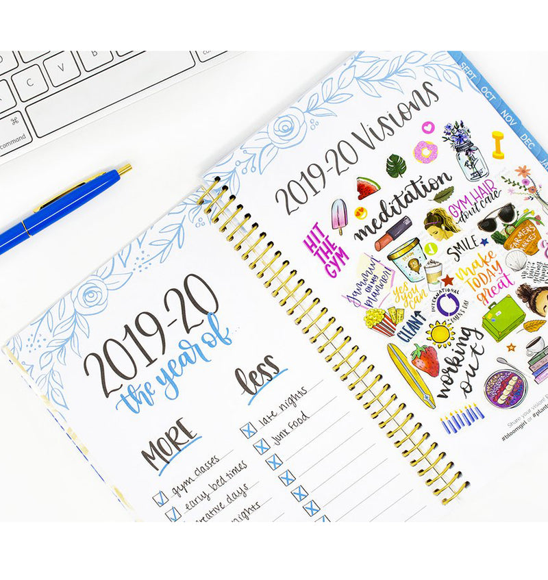 Blue & White Floral 2019-2020 Bloom Soft Cover Daily Planner Visions