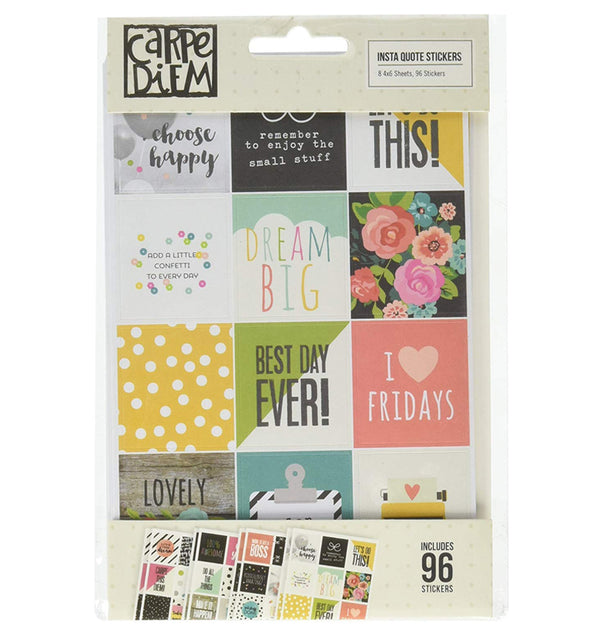 Carpe Diem Insta Quote Planner Stickers, 8 Sheets