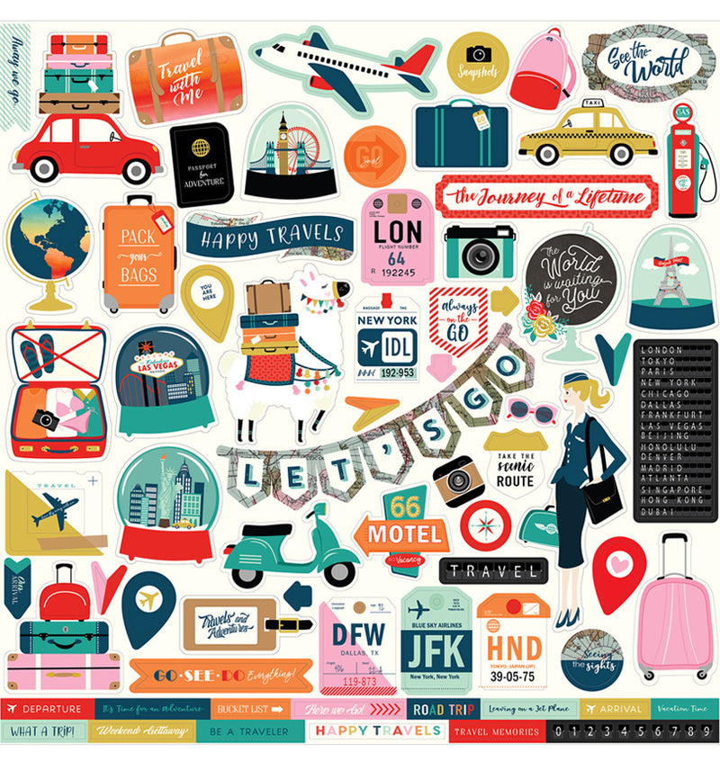 Carta Bella Pack Your Bags Collection Kit, 12x12 Element Sticker Sheet