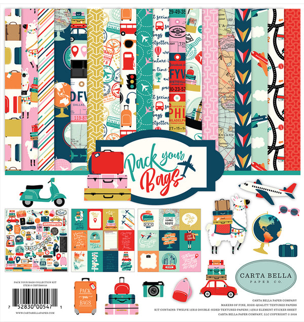 Carta Bella Pack Your Bags Collection Kit, 12x12 Cardstock Paper and Sticker Sheet