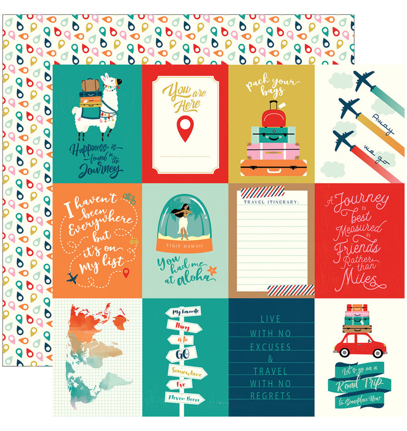 Carta Bella Pack Your Bags Collection Kit, 3x4 Journaling Cards Paper