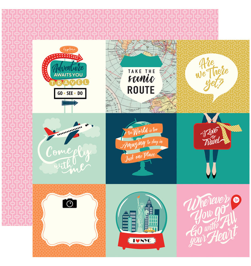 Carta Bella Pack Your Bags Collection Kit, 4x4 Journaling Cards Paper