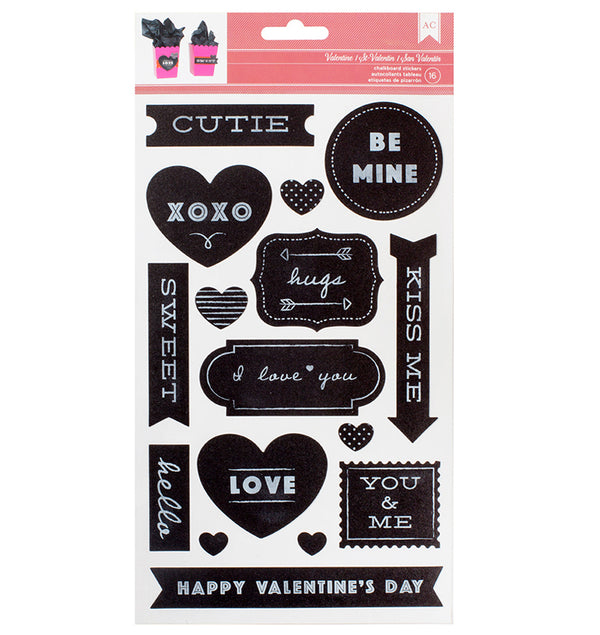 Chalkboard Valentine Stickers Grey American Crafts