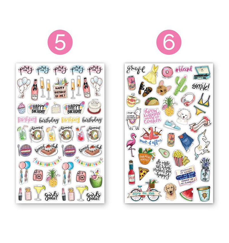Bloom's Classic Planner Sticker Sheets Pack 6pcs, 5th and 6th designs