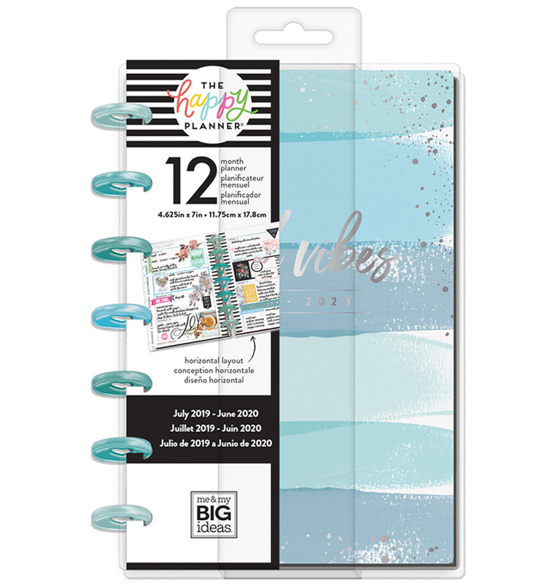 Coastal Vibes 2019 - 2020 Mini Happy Planner (12 Months) Cover with Tab
