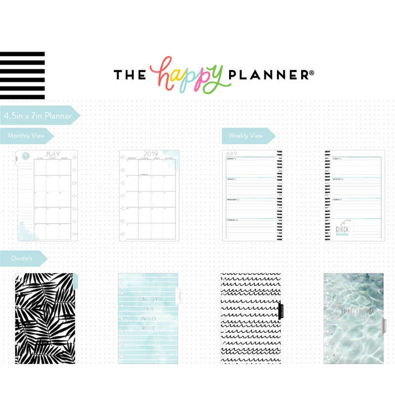Coastal Vibes 2019 - 2020 Mini Happy Planner (12 Months) Page Layouts & Dividers