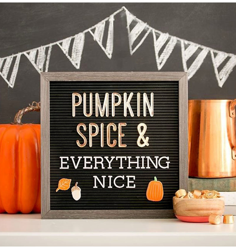 "DCMV 12"" x 12"" Grey & Black Letterboard Pumpkin Design"