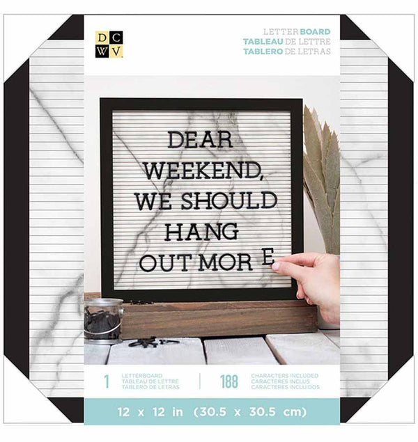 12 x 12 Black White Marble Letter Board