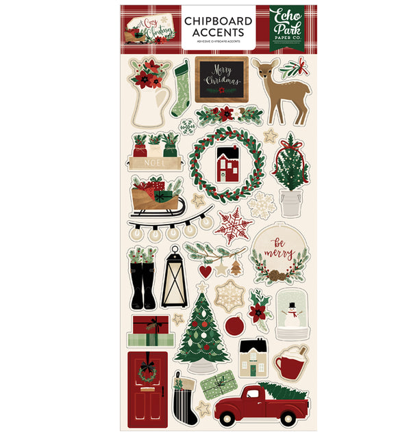 A Cozy Christmas Chipboard Accents Stickers