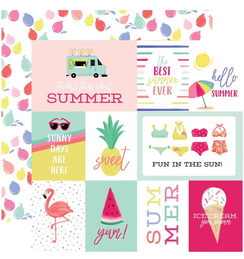 Echo Park Best Summer Ever 6 x 6 Paper Pad, Journaling Cards Paper