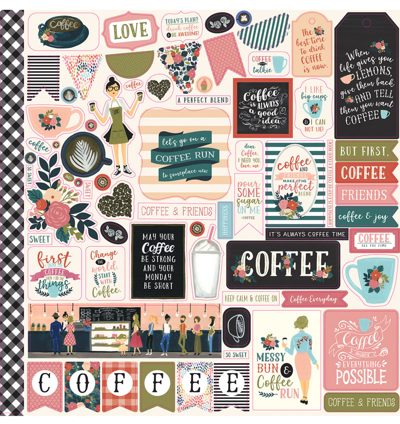 Echo Park Paper Coffee Collection Kit, 12x12 Element Sticker Sheet