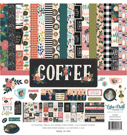 Echo Park Paper Coffee Collection Kit, 12x12 Paper with Sticker Sheet