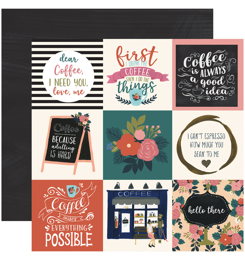 Echo Park Paper Coffee Collection Kit, 3x4 Journaling Cards 12x12 Paper