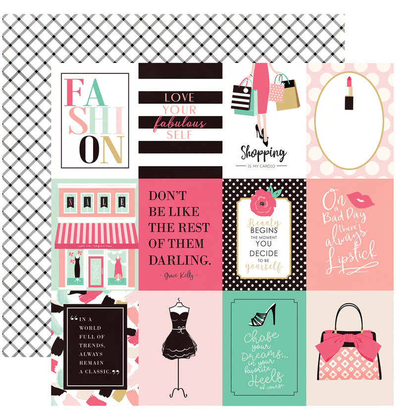 "Echo Park Paper Fashionista Collection Kit 3"" x 4"" Journaling Cards Patterned Cardstock Paper"