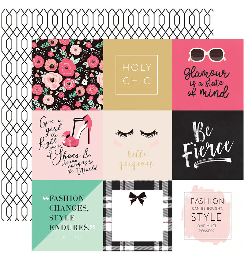 "Echo Park Paper Fashionista Collection Kit 4"" x 4"" Journaling Cards Patterned Cardstock Paper"