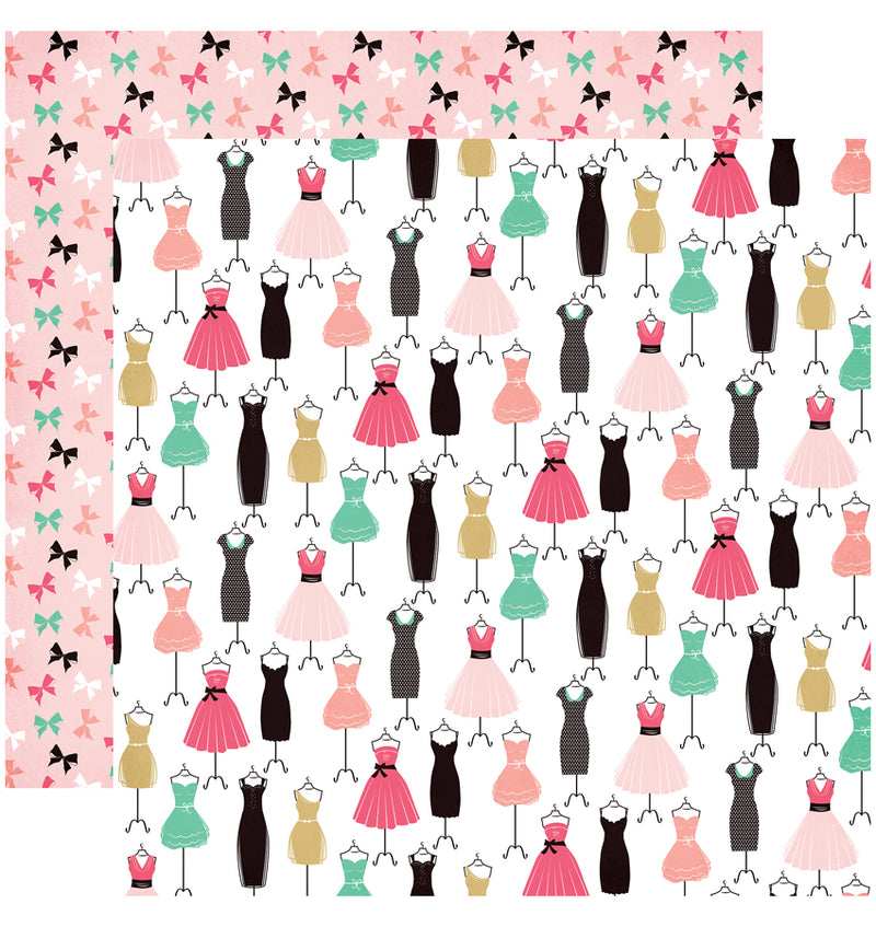 "Echo Park Paper Fashionista Collection Kit Dress for Success 12"" x 12"" Double-Sided Cardstock Patterned Paper"