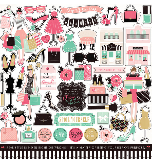 Echo Park Paper Fashionista Collection Kit Element Sticker Sheet