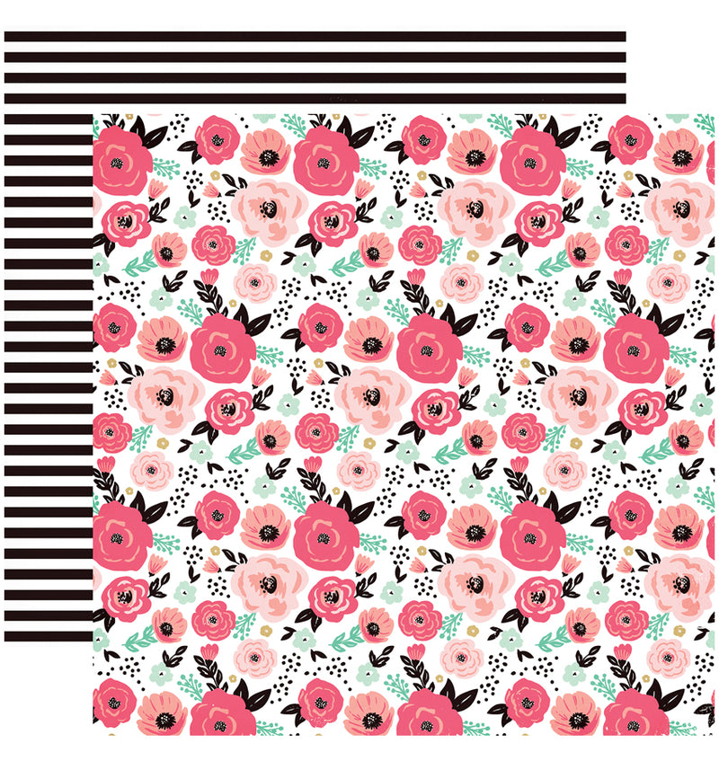 "Echo Park Paper Fashionista Collection Kit Floral 12"" x 12"" Double-Sided Cardstock Patterned Paper"
