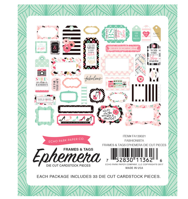 Echo Park Fashionista Frames and Tags Ephemera 33pcs Back