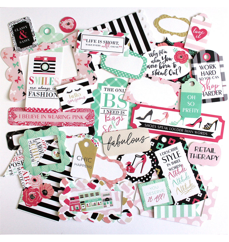 Echo Park Fashionista Frames and Tags Ephemera 33pcs Designs