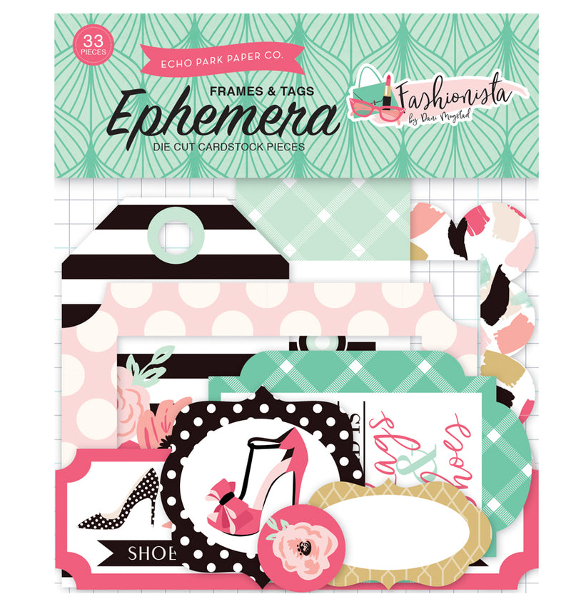 Echo Park Fashionista Frames and Tags Ephemera 33pcs Front