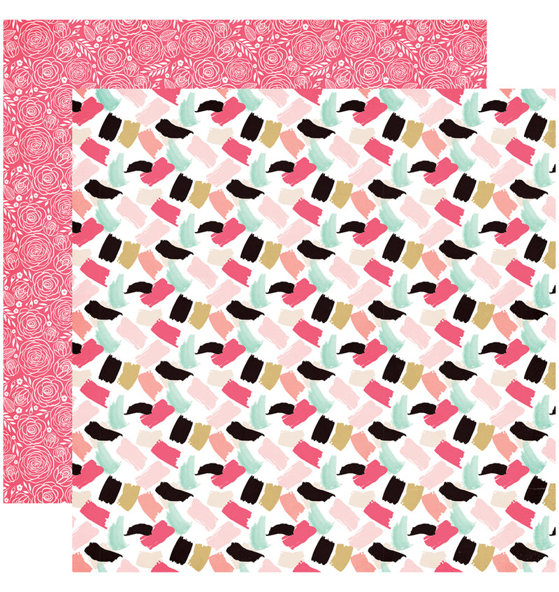 "Echo Park Paper Fashionista Collection Kit Paint The Town 12"" x 12"" Double-Sided Cardstock Patterned Paper"