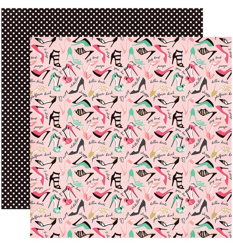 "Echo Park Paper Fashionista 6"" x 6"" Paper Pad So Many Shoes Design"