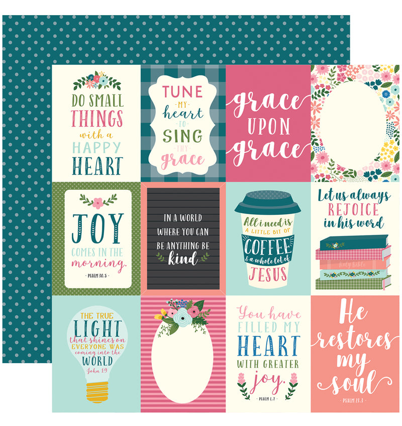 "Echo Park Paper Have Faith 6"" x 6"" Paper Pad 4x4 Journaling Cards Design"