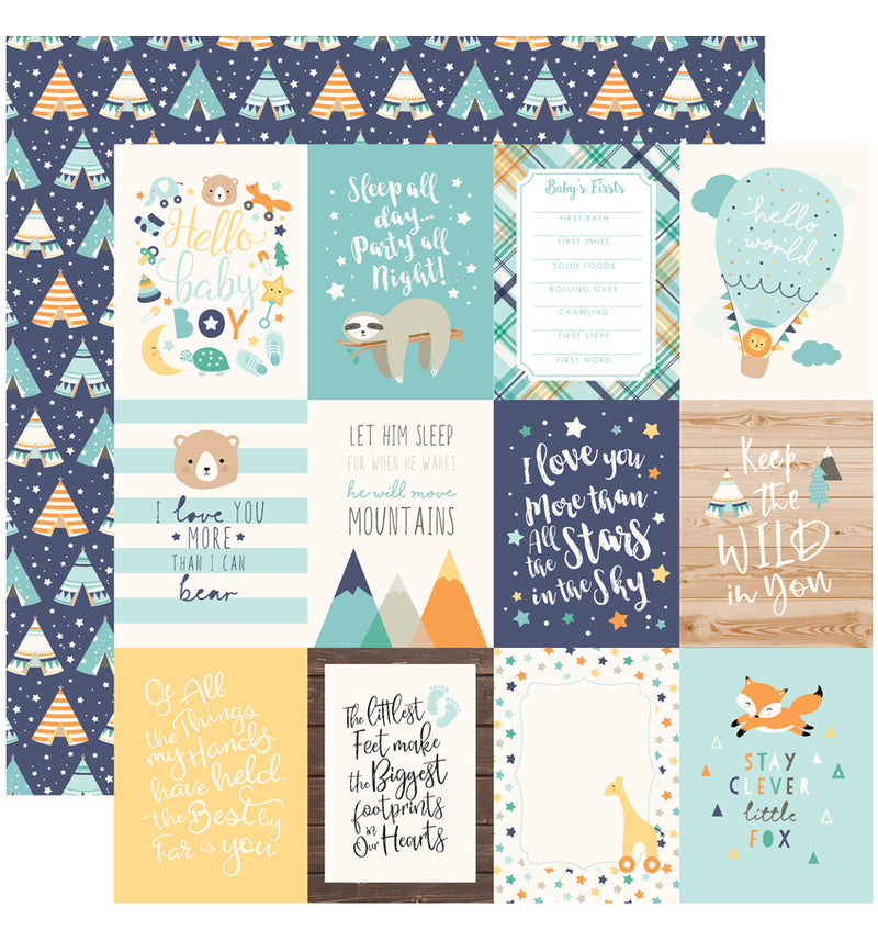 Echo Park Hello Baby Boy Collection Kit, 3x4 Journaling Cards Cardstock Paper Design