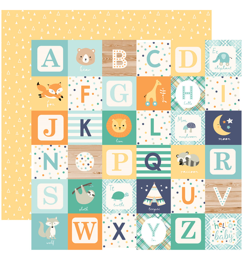 Echo Park Hello Baby Boy Collection Kit, 12x12 Alphabet Blocks Cardstock Paper Design