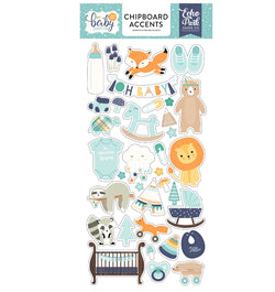 Hello Baby Boy Chipboard Accents Stickers