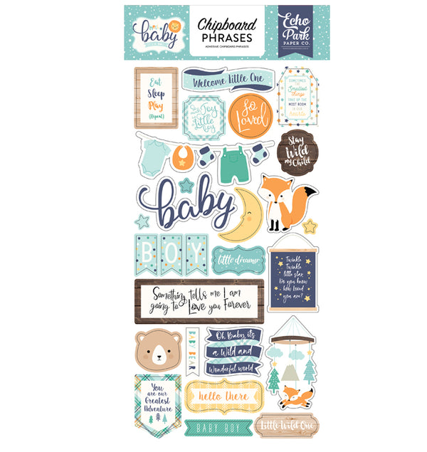Echo Park Hello Baby Boy Chipboard Phrases Stickers